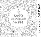 illustration happy birthday... | Shutterstock . vector #302555408
