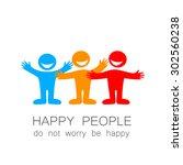 happy people   template mark.... | Shutterstock .eps vector #302560238