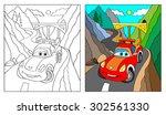 Coloring Book  Cartoon Vector...