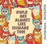 birds owls like humans fun sign ...   Shutterstock .eps vector #302563454