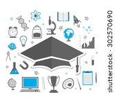 educational elements  objects ... | Shutterstock .eps vector #302570690