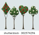 Set Of Four Bizarre Trees With...