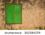 Green Window On A Old  Wall  ...