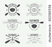 set of vintage rafting logo ... | Shutterstock .eps vector #302585558