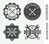 vintage mechanic label  emblem... | Shutterstock .eps vector #302585828