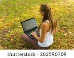 young woman using tablet ...   Shutterstock . vector #302590709
