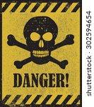 danger sign with skull symbol.... | Shutterstock .eps vector #302594654