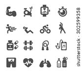 health and fitness icon set ... | Shutterstock .eps vector #302599358