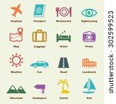 trip elements  vector... | Shutterstock .eps vector #302599523