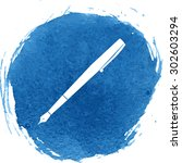 pen icon.watercolor effect | Shutterstock . vector #302603294