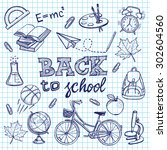 hand drawn back to school set.... | Shutterstock .eps vector #302604560