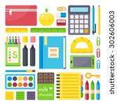 school supplies from student's... | Shutterstock .eps vector #302606003