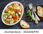 roasted vegetables   zucchini ... | Shutterstock . vector #302606990