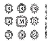 set monogram logos template on... | Shutterstock .eps vector #302608280