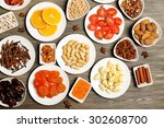 different products on saucers... | Shutterstock . vector #302608700