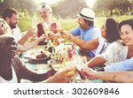 diverse people hanging out... | Shutterstock . vector #302609846