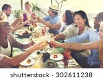 diverse people hanging out... | Shutterstock . vector #302611238