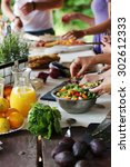cooking frame  food. table full ... | Shutterstock . vector #302612333