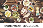 food table delicious  meal... | Shutterstock . vector #302613026