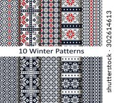 set of ten winter patterns | Shutterstock .eps vector #302614613