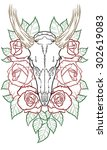 deer skull | Shutterstock . vector #302619083