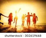 friendship freedom beach summer ... | Shutterstock . vector #302619668