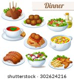 set of food icons isolated on... | Shutterstock .eps vector #302624216