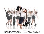 businesswoman on the background ... | Shutterstock . vector #302627660