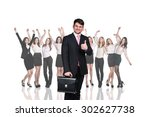 businessman on the background... | Shutterstock . vector #302627738