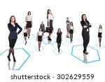 happy business colleagues stay...   Shutterstock . vector #302629559
