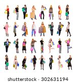 shopping spree buying things  | Shutterstock . vector #302631194