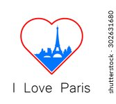 i love paris   the template for ... | Shutterstock .eps vector #302631680