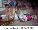 trash can outdoors with filter... | Shutterstock . vector #302632208