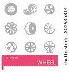 vector wheel icon set on grey... | Shutterstock .eps vector #302635814