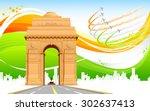 illustration of india gate on... | Shutterstock .eps vector #302637413