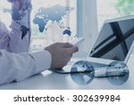 work desk of businessman with