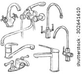 vector set of sketch faucets.... | Shutterstock .eps vector #302641610