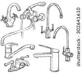 vector set of sketch faucets.... | Shutterstock .eps vector #302641610