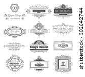 retro vintage labels insignias... | Shutterstock .eps vector #302642744