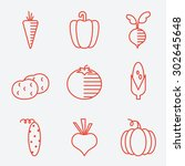 vegetables icons  thin line... | Shutterstock .eps vector #302645648