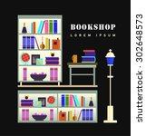bookstore. books  science ... | Shutterstock .eps vector #302648573