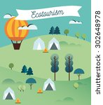 landscape infographics. lake... | Shutterstock .eps vector #302648978