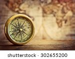 Old Compass And Vintage Map....