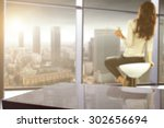 blurred background of window of ... | Shutterstock . vector #302656694