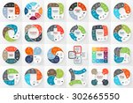 24 vector circle infographics.... | Shutterstock .eps vector #302665550