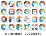 24 vector circle infographics.... | Shutterstock .eps vector #302665550