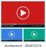modern flat video player... | Shutterstock .eps vector #302672174