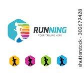 running logo abstract man... | Shutterstock .eps vector #302679428