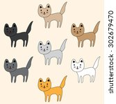 set of cute funny  cats | Shutterstock .eps vector #302679470