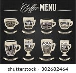 set of coffee types menu....